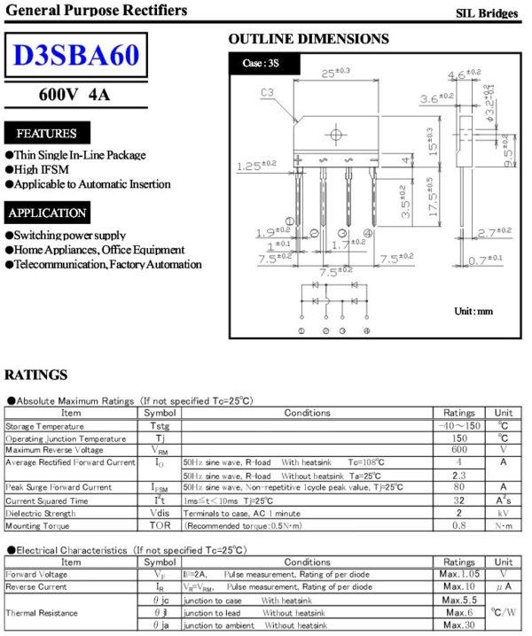 Brückengleichrichter Gleichrichterbrücke D3SB60 600V 4A (0005)