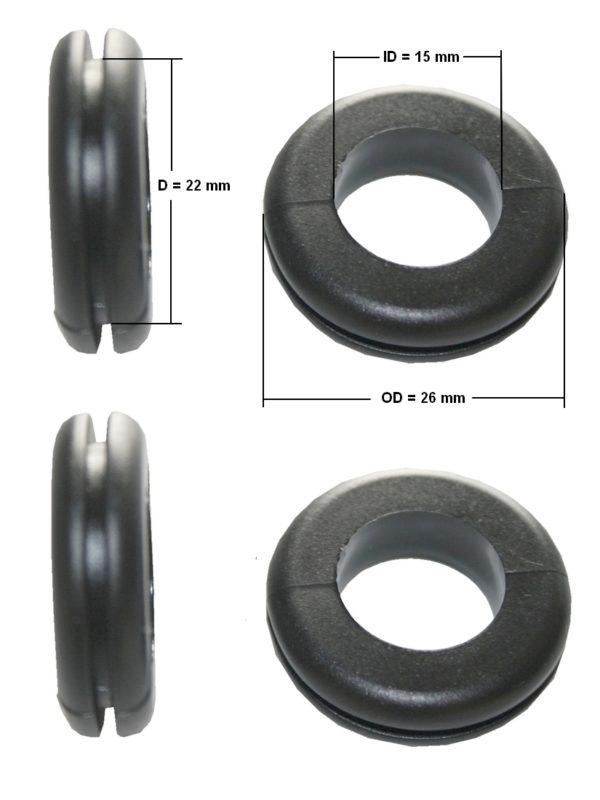 Durchgangstüllen Kabeldurchführung Kabeldurchlass 15mm schwarz 4 Stück (0158)