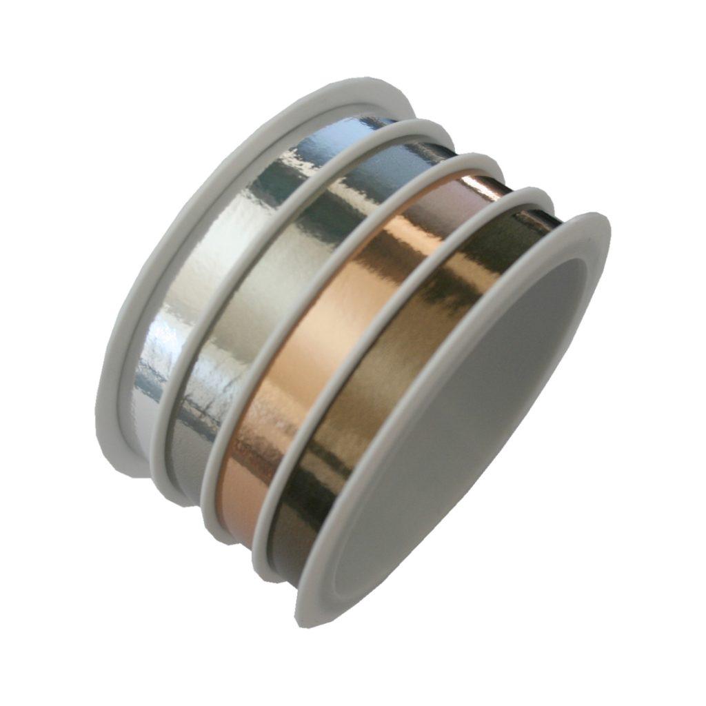 Geschenkband Schleifenband gold-braun 4er-Set 4x6m (0197)