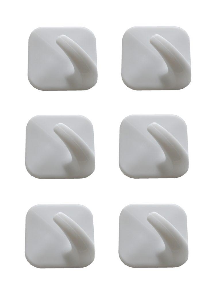 Handtuchhaken 6er Pack Kunststoff 45x45mm weiß (0211)