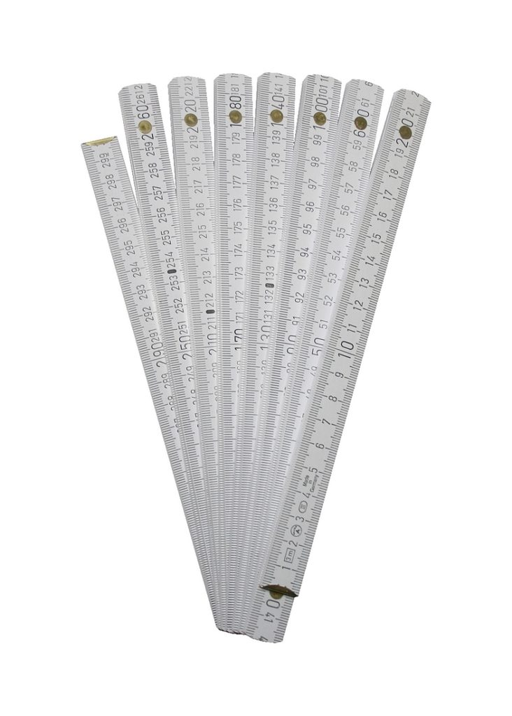 Gliedermaßstab 3 Meter Zollstock Buchenholz Meterstab weiß (0237)