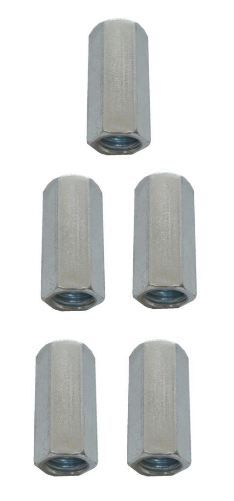 Verbindungsmuttern Distanzmuttern Sechskant verzinkt M10x25mm 5 Stück (0073)