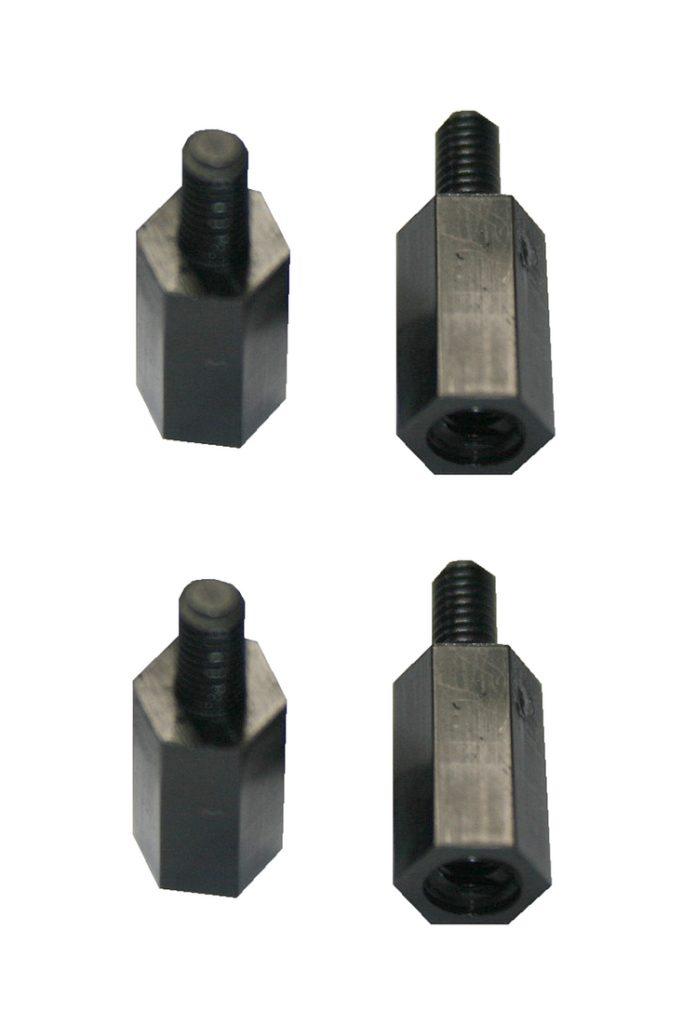 Distanzbolzen Abstandshalter M3 12mm Polyamid schwarz 4 Stück (0123)