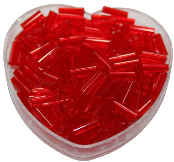 Stiftperlen Glasperlen Stäbchenperlen aus Glas 7mm rot (0105)