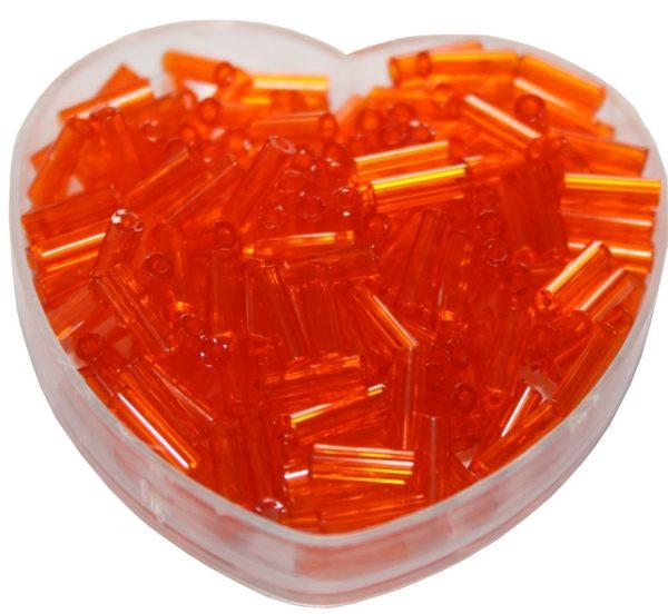 Stiftperlen Glasperlen Stäbchenperlen aus Glas 7mm orange (0106)