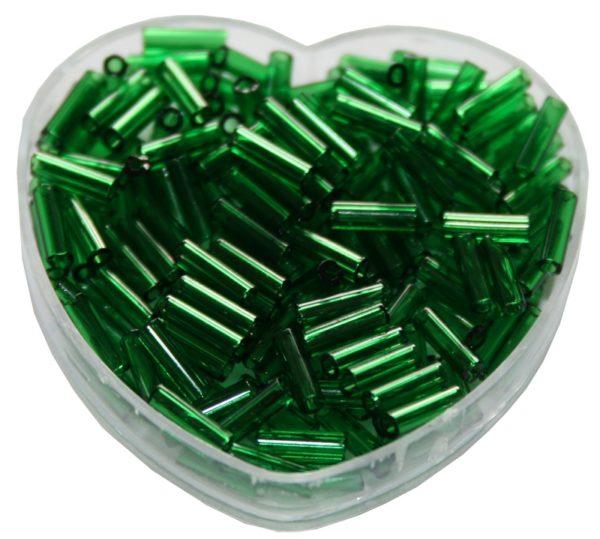 Stiftperlen Glasperlen Stäbchenperlen aus Glas 7mm dunkelgrün (0107)