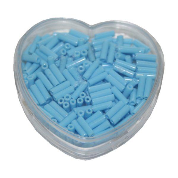 Stiftperlen Glasperlen Stäbchenperlen aus Glas 7mm hellblau (0098)