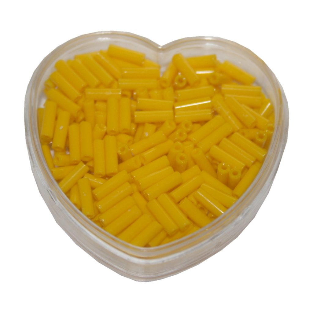 Stiftperlen Glasperlen Stäbchenperlen aus Glas 7mm gelb (0100)