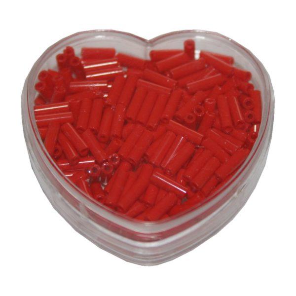 Stiftperlen Glasperlen Stäbchenperlen aus Glas 7mm rot (0103)