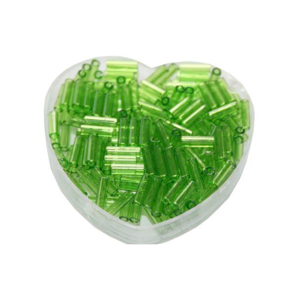Stiftperlen Glasperlen Stäbchenperlen aus Glas 7mm hellgrün (0108)