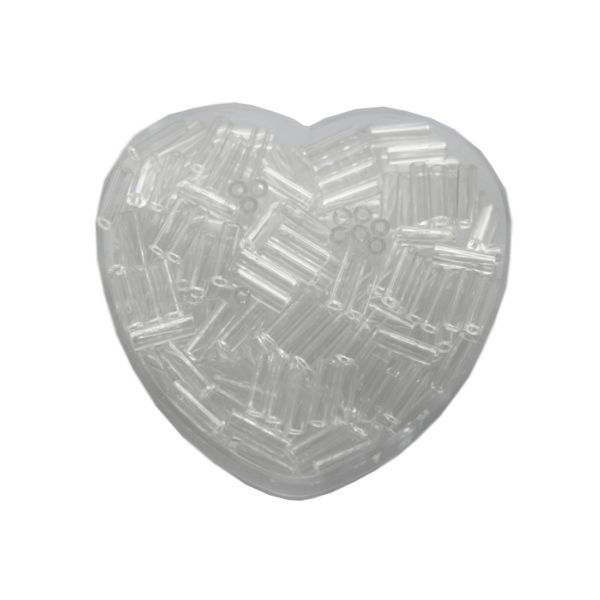 Stiftperlen Glasperlen Stäbchenperlen aus Glas 7mm weiß duchsichtig (0109)