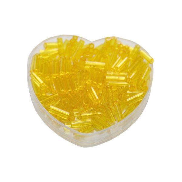 Stiftperlen Glasperlen Stäbchenperlen aus Glas 7mm gelb (0111)