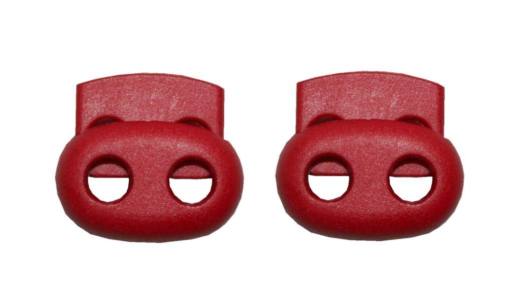 Kordelstopper Kordelklemme oval 2 Loch rot 2 Stück (0125)