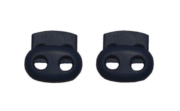 Kordelstopper Kordelklemme oval 2 Loch schwarz 2 Stück (0126)