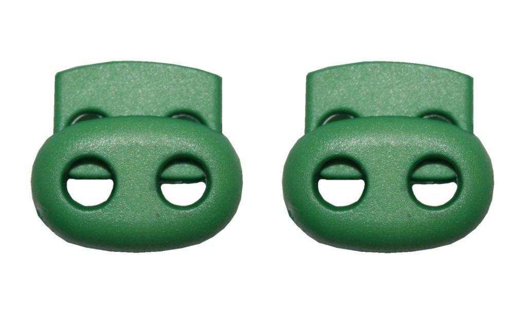 Kordelstopper Kordelklemme oval 2 Loch grün 2 Stück (0127)