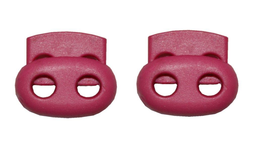 Kordelstopper Kordelklemme oval 2 Loch pink 2 Stück (0128)