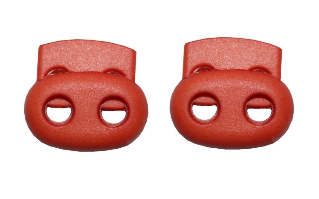 Kordelstopper Kordelklemme oval 2 Loch orange 2 Stück (0129)