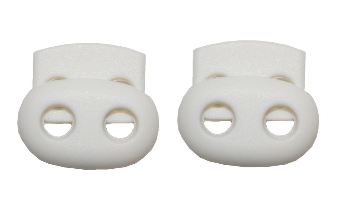 Kordelstopper Kordelklemme oval 2 Loch weiß 2 Stück (0130)