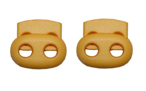 Kordelstopper Kordelklemme oval 2 Loch gelb 2 Stück (0131)