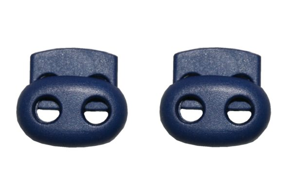 Kordelstopper Kordelklemme oval 2 Loch blau 2 Stück (0132)