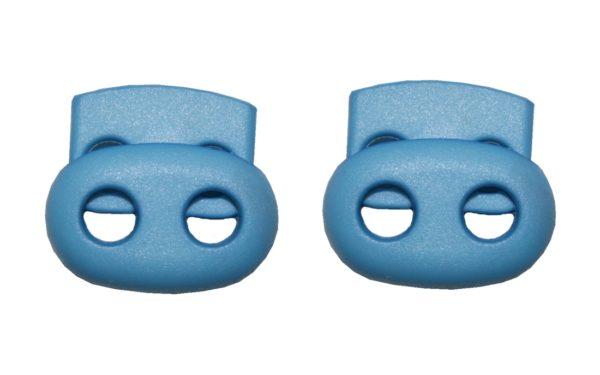 Kordelstopper Kordelklemme oval 2 Loch hellblau 2 Stück (0133)