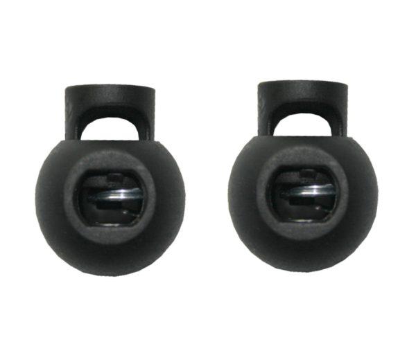 Kordelstopper Kordelklemme rund 1 Loch schwarz 2 Stück (0135)