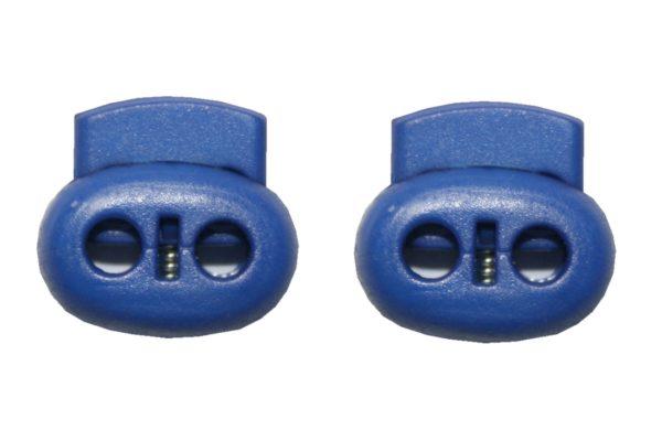 Kordelstopper Kordelklemme oval 2 Loch blau 2 Stück (0143)