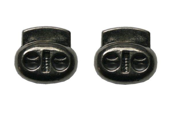 Kordelstopper Kordelklemme oval 2 Loch bronxe glänzend 2 Stück (0144)