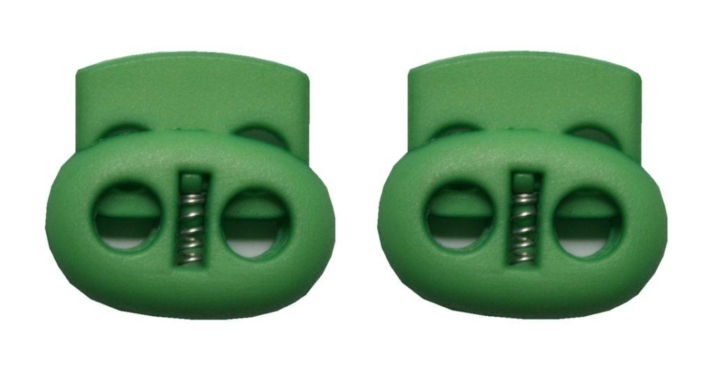 Kordelstopper Kordelklemme oval 2 Loch grün 2 Stück (0146)