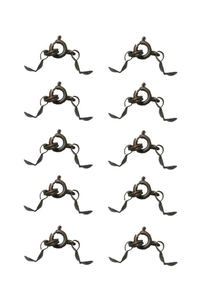 Verschluss mit 2 Quetschkalotten bronzefarben 10 Stück (0060)