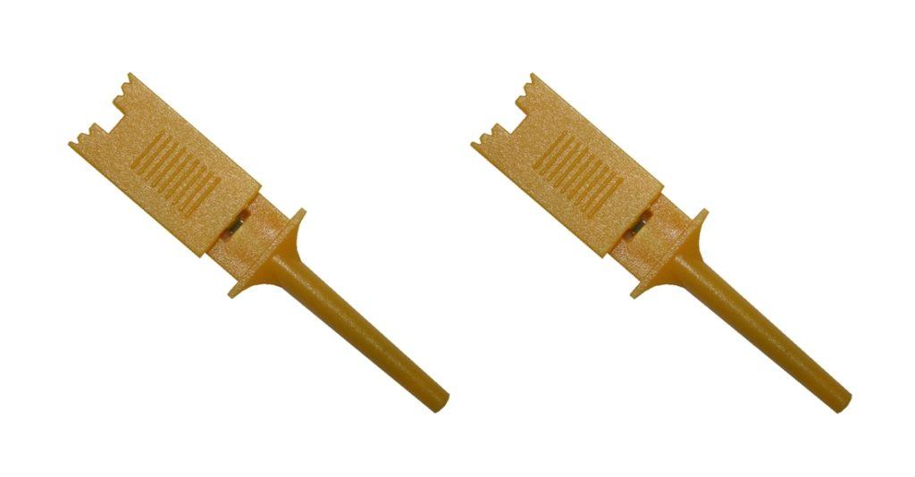 Mini Prüf-Clip Abgreifklemme Prüfspitze gelb 2 Stück (0301)