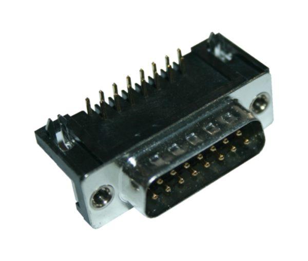 D-Sub Stecker 15 polig 90° zweireihig männlich Printmontage (0343)