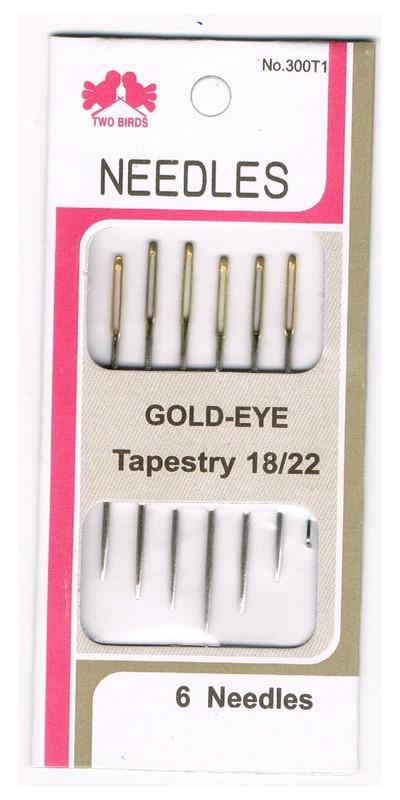 Nadeln für Gobelin sticken goldenes Öhr 18/22 6 Stück (0001)
