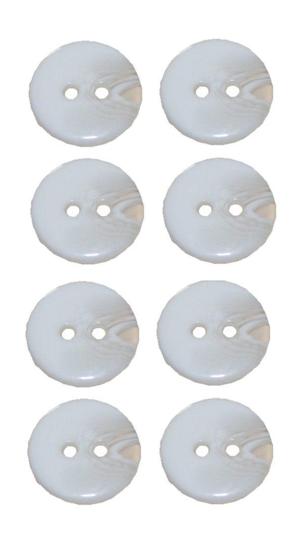 Knopf 15 mm 2 loch weiß transparent 8 Stück (0034)