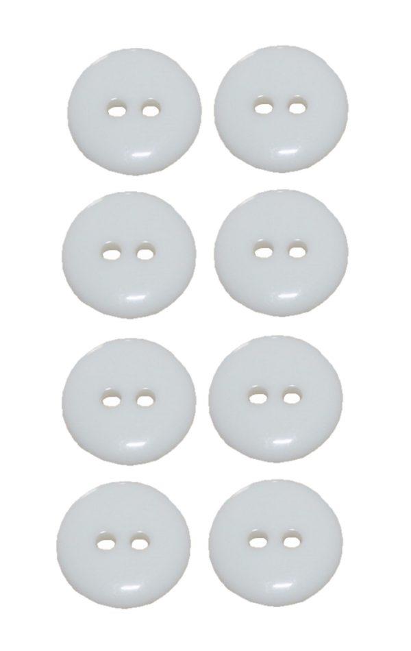 Knopf 15 mm 2 loch weiß 8 Stück (0036)