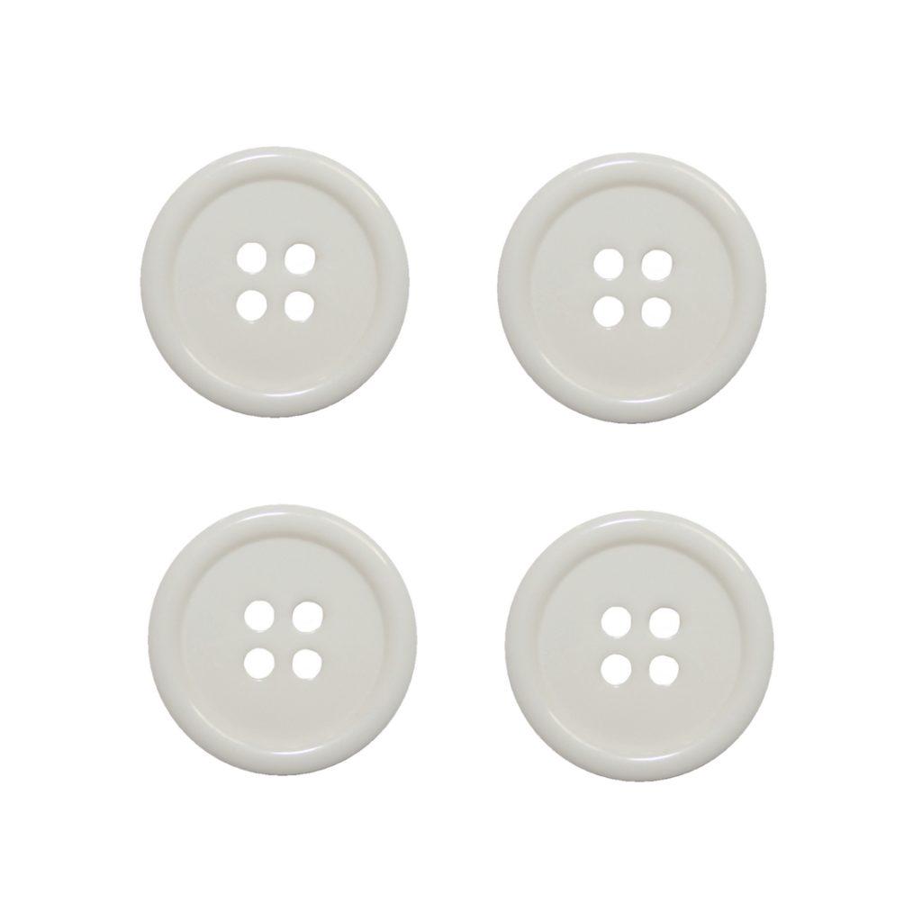 Knopf Knöpfe 20mm 4 loch weiß 4 Stück (0042)