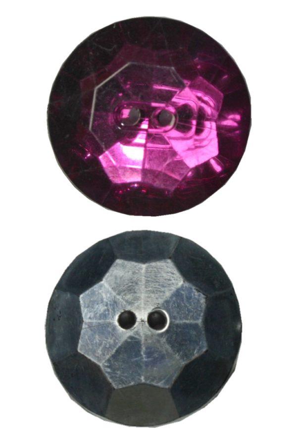 Knopf Facettenschliff 25 mm Kristall-Optik 2 Loch fuchsia 2 Stück (0046)