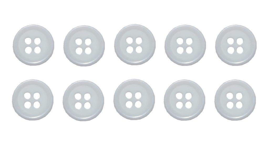 Knopf Knöpfe 10mm 4 loch weiß 10 Stück (0069)