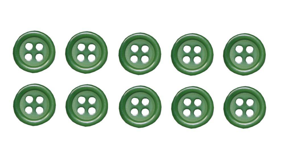 Knopf Knöpfe 10mm 4 loch grün 10 Stück (0072)