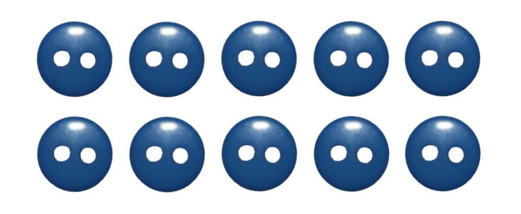 Knopf Knöpfe 9mm 2 loch blau 10 Stück (0170)