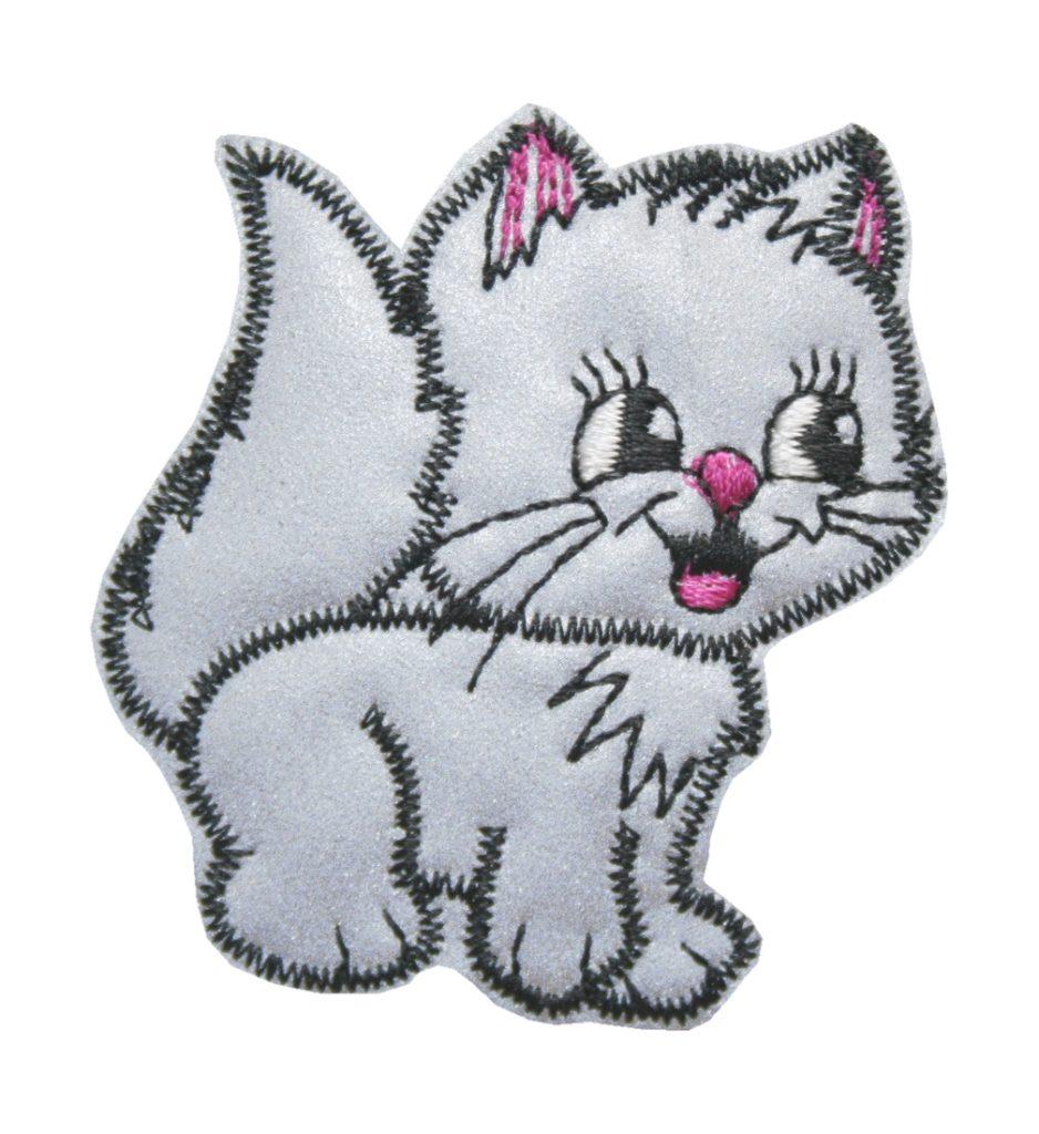 Aufnäher Bügelbild Aufbügler Katze reflektierent 50x55mm (1012)