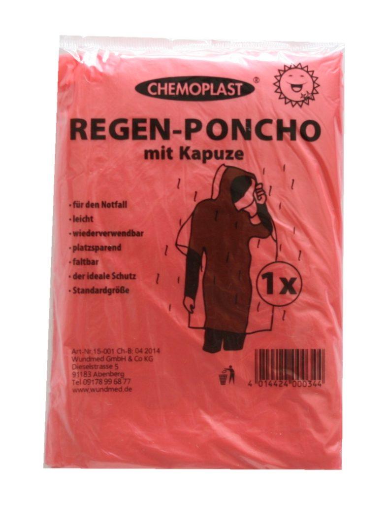 Regenponcho mit Kaputze Regen Poncho rot (9488)