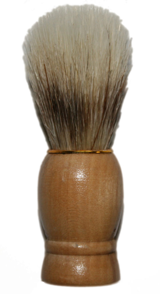 Rasierpinsel Holz mit Goldring, ca. 10 cm, 3 cm Ø (9694)
