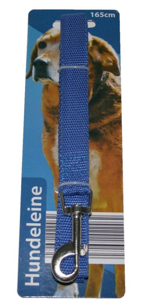 Hundeleine mit Handschlaufe und Karabiner inkl. Drehwirbel 165 cm blau (0033)
