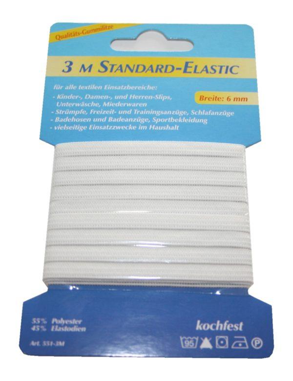 Gummilitze Gummiband Elastic-Standard 3m 6mm weiß (1003)