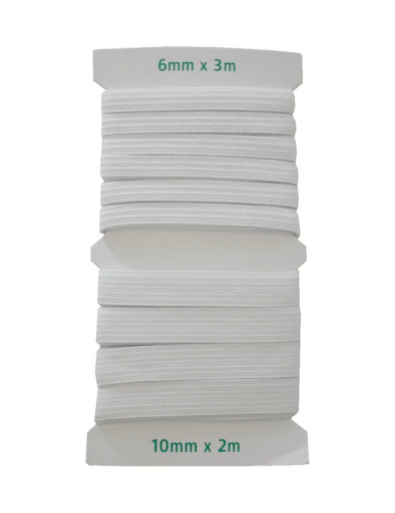 Gummilitze Gummiband 6mm x 3m und 10mm x 2m weiß (0005)