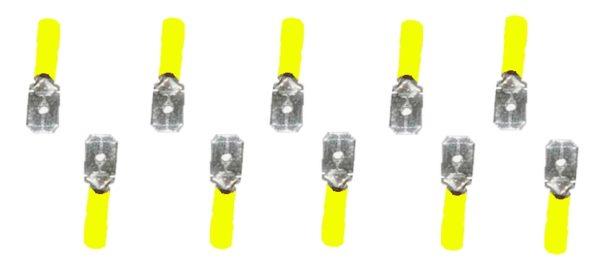 Flachstecker Steckverbinder Stecker gelb 6,3mm 10 Stück (0021)