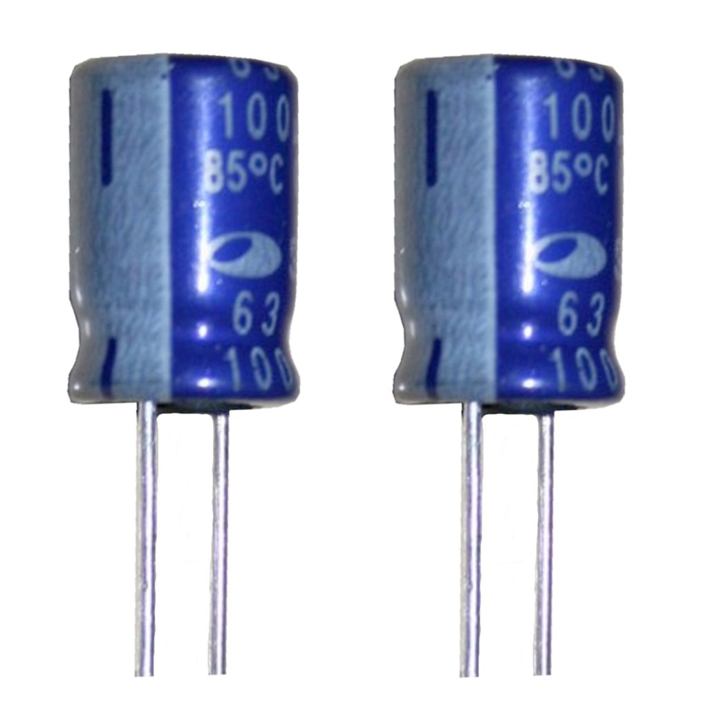 Elko Elektrolytkondensator Kondensator 100uF 63V 85°C 2 Stück (2010)