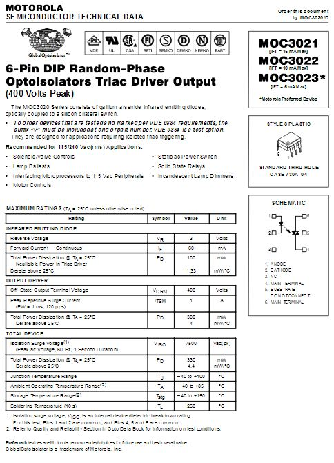 MOC3021 Optokoppler mit Triac Ausgang 2 Stück (0115)
