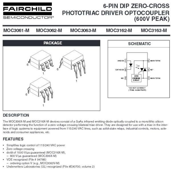 MOC3063 Optokoppler mit Triac Ausgang 2 Stück (0119)